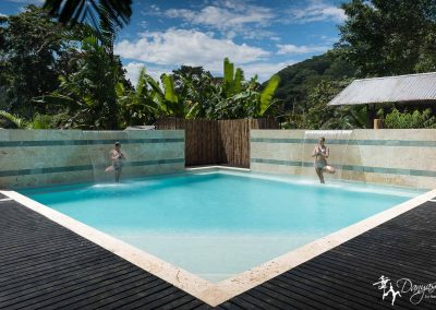 Photo of our pool at Danyasa surrounded by the mountains of Costa Rica