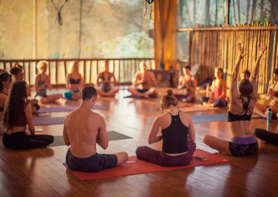 group photo at Bamboo Yoga Play Studio at Danyasa in Costa Rica
