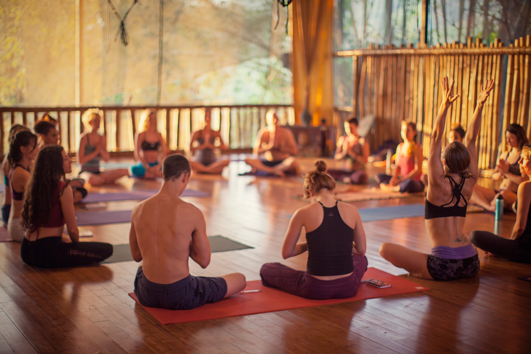 Yoga class in session in the Bamboo Yoga Play studio at Danyasa Retreat Center