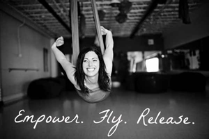 Jodi Kobrin aerial yoga training teacher in yoga swing